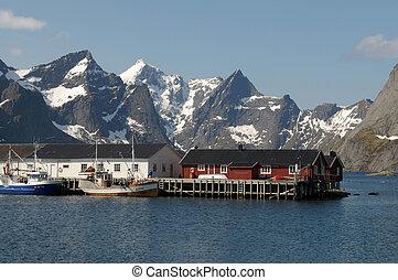 montañas, reine, aldea, noruego