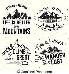 montañas, relacionado, tipográfico, conjunto, quote.
