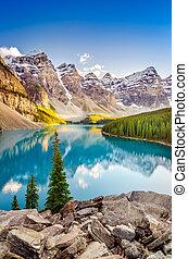 montañas, rocoso, canadiense, lake moraine, paisaje, vista