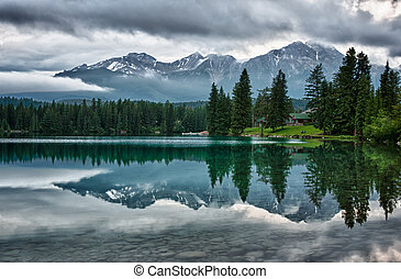 montañas, rocoso, espejos, encima, canadiense, mañana,...