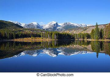 montañas, rocoso, sprague, parque nacional, lago, vista