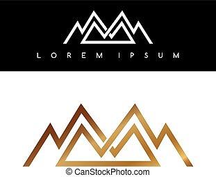 montañas, símbolo, logotypes, superpuesto, logotipo, señal, línea, dorado, monocromático