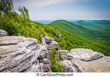 montañas, schloss, virginia., appalachian, nacional,...