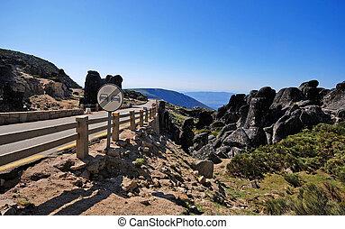 montañas, serra, portugal, da, estrela, camino