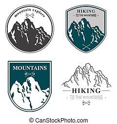 montañas, set., ilustración, mano, vector, dibujado, icono