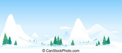 montañas, snowcapped, paisaje, plano de fondo, panorama