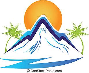montañas, sol, palmas, logotipo