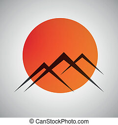 montañas, sol, vector, icono
