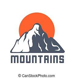 montañas, sol, vector, logotipo, icono, ilustración