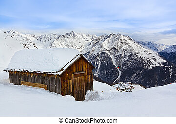 montañas, solden, casa, -, recurso, austria, esquí