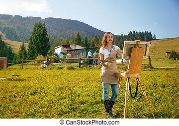 montañas, trabajo, joven, pintor