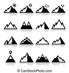 montañas, vector, conjunto, iconos