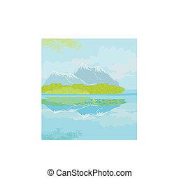 montañas, vector, paisaje
