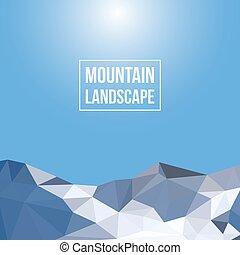 montañas, vector, plano de fondo