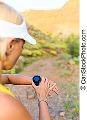 montañas, verificar, deportes, corredor, rastro, verano, reloj