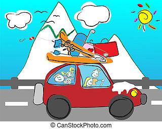 montañas, viaje, familia