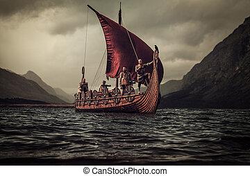 montañas, vikings, mar, flotar, drakkar