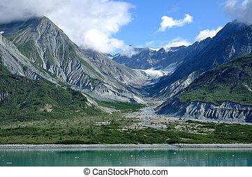 montañas, y, glacial, valle, bahía del glaciar, alaska