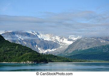montañas, y, glaciar, bahía glaciar parque nacional, alaska