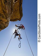 montañismo, equipo, luchas, a, el, summit.