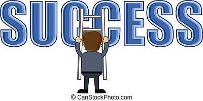 montañismo, escalera, éxito, hombre
