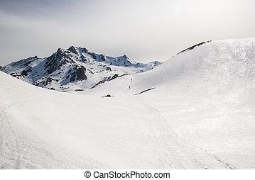 montañismo, hacia, el, cumbre