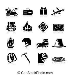 montañismo, iconos, negro