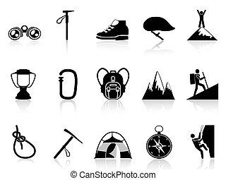 montañismo, montaña, conjunto, iconos