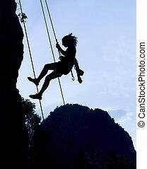 montañismo, mujer, silueta