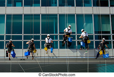 montañismo, trabajadores, en, edificio de oficinas