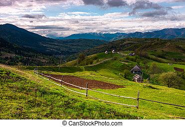 montañoso, área rural, en, primavera