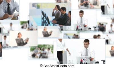 montaż, handlowy, pracujące ludzie