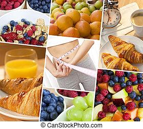 montaż, kobieta, &, świeży, zdrowa dieta, jadło, styl życia