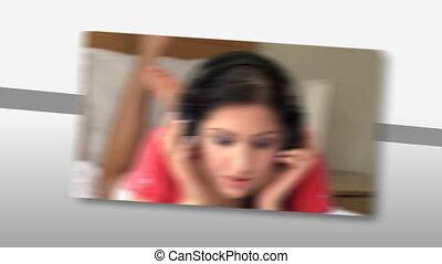 montaż, kobieta, mu, młody, słuchający