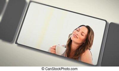 montaż, od, kobiety, cieszący się, kawa