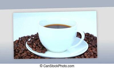 montaż, od, kobiety, pijąca kawa