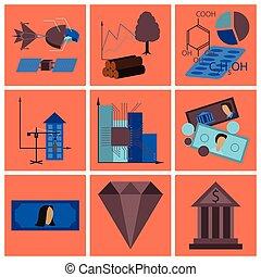 montaż, od, płaski, ikony, ekonomika, handlowy finansują