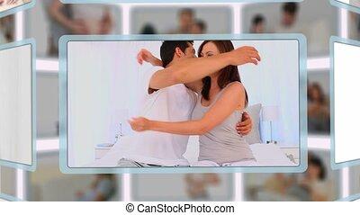 montaż, od, para, cieszący się, brzemienność, chwile, razem