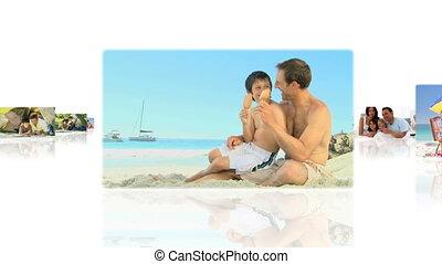 montaż, posiadanie, pary, ich, outdoors, zabawa, dom, dzieci