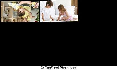 montaż, rodziny, interpretacja, wesoły