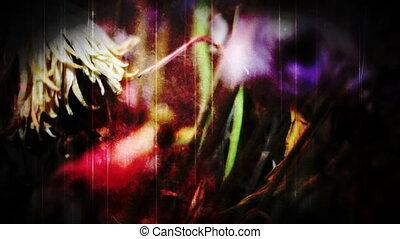 montaż, szarpanie, kwiaty, ręka