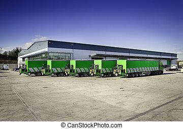 montado, camión de elevador de carga, moffett