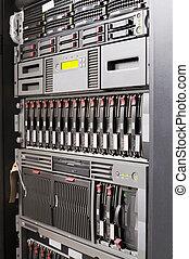 montado, estante, servidores