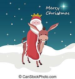 montado, tarjeta, rey, navidad, claus, mago, santa, burro