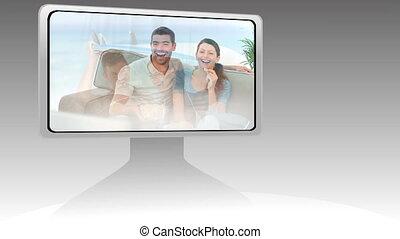montage, écran, en mouvement, projection