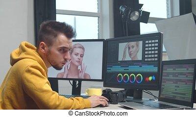 montage, édition, colorist, professionnel, console., ...