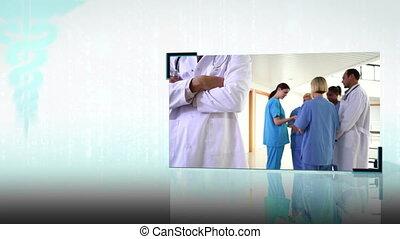montage, équipes, monde médical
