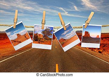 montage, 旅行, 即顯膠片, 假期, moument, 繩子, 相片, 懸挂, 概念性, 山谷, 代表, 沙漠