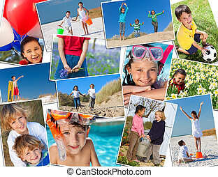 Montage Active Happy Children Playing - Montage of...
