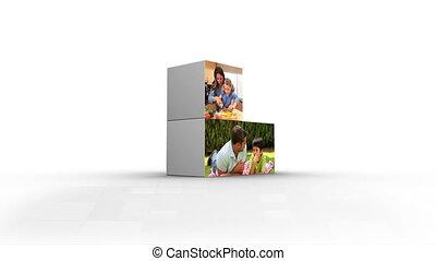 montage, activités, famille